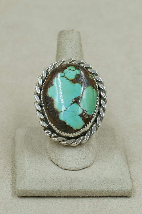 Baby Blue Turquoise 10.5x, Sterling Silver Ring by James Saunders