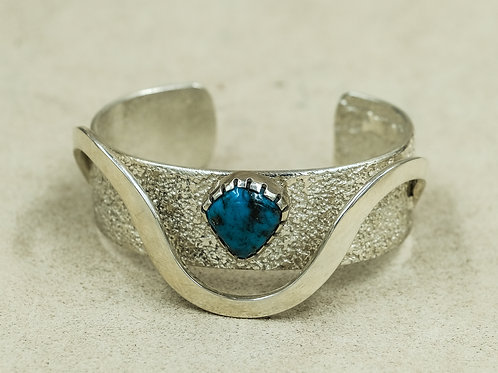 SS Hi-Grade Wave w/ Morenci Turquoise Cuff by Mark Roanhorse Crawford