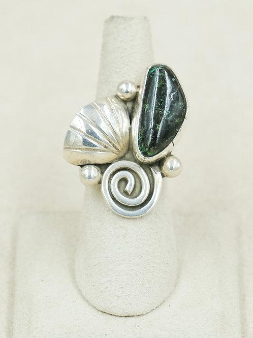 SS Seashell Spiral w/ Dark Nevada Turquoise 7x Ring by Robert Mac Eustace Jones