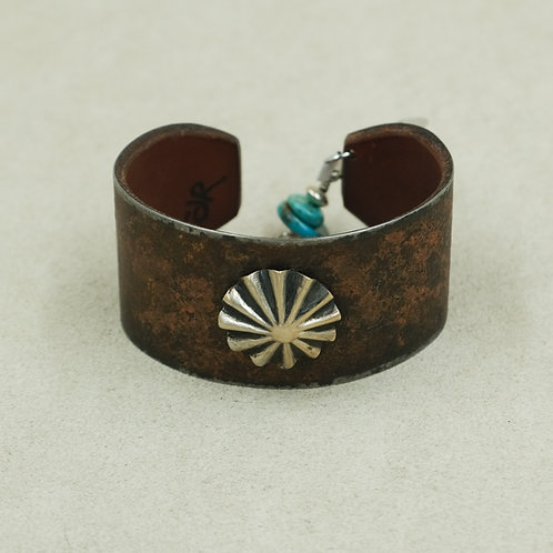 Leather Adjustable Cuff w/SS Round Concho & Turquoise Dangle by Peyote Bird