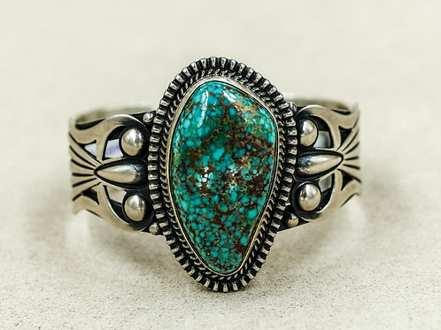 Sterling Silver Natural Easter Blue Turquoise Cuff by Derrick Gordon