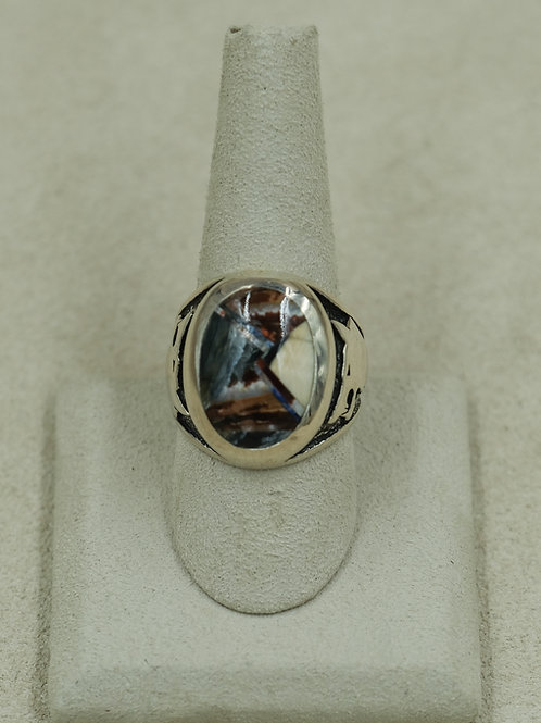Siberian Multi-Colo Fossil w/ Mammoth Tooth & Tusk 9x Ring by GL Miller