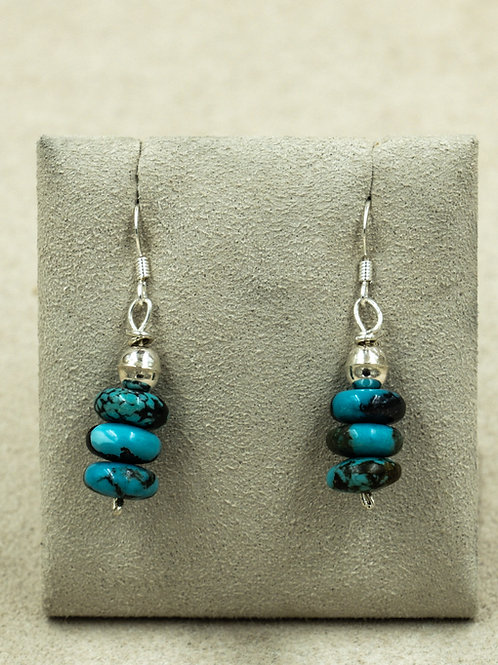 SS 3 Rondelles w/ China Mountain Turquoise Earrings by Kenneth Aguilar