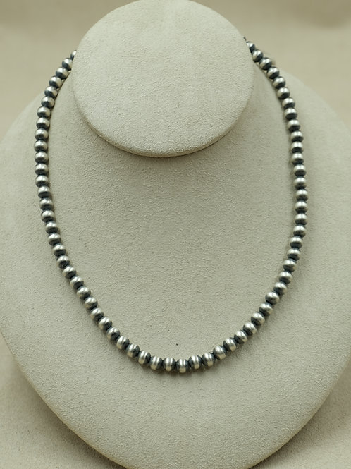 Sterling Silver Oxidized 6mm Bead Necklace by Maggie Moser