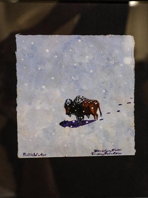 """""""Buffalo Winter"""" Framed Acrylic on Handmade Paper by David Gary Suazo"""