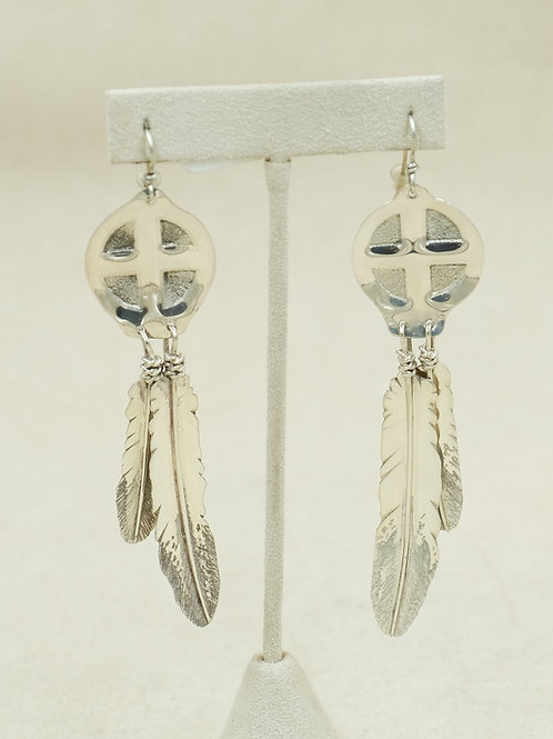 Sterling Silver Feather & Medicine Wheel Top Earrings by T'Chin