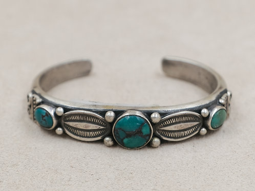 SS Narrow Ingot w/ Oval Spacers & 3 Round Blue Turquoise Cuff by Mike French