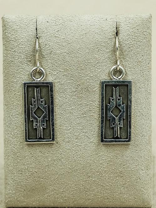 Sterling Silver Oxidized Rug Pattern Earrings by Alonzo John