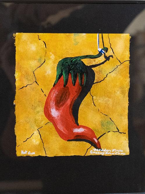 """Hot One"" - Framed Acrylic on Canvas & Homemade Paper by David Gary Suazo"