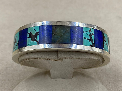 SS Cuff w/Chinese Turquoise, Labradorite, and Lapis by Vincent Gioielli
