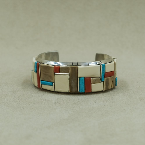 Sterling Silver Mediterranean Coral Cuff w/Wooly Mammoth Inlay by Dukepoo