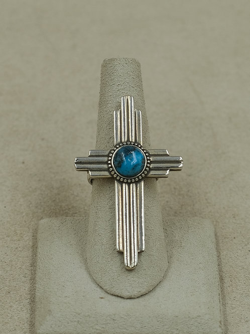 Sterling Silver Zia w/ Assorted Turquoise 7x Ring by Gregory Segura