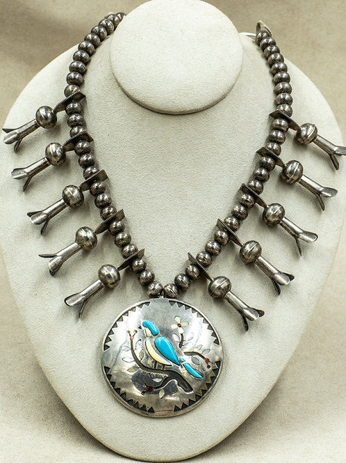 Vintage 70's Sterling Silver Zuni Inlay Necklace