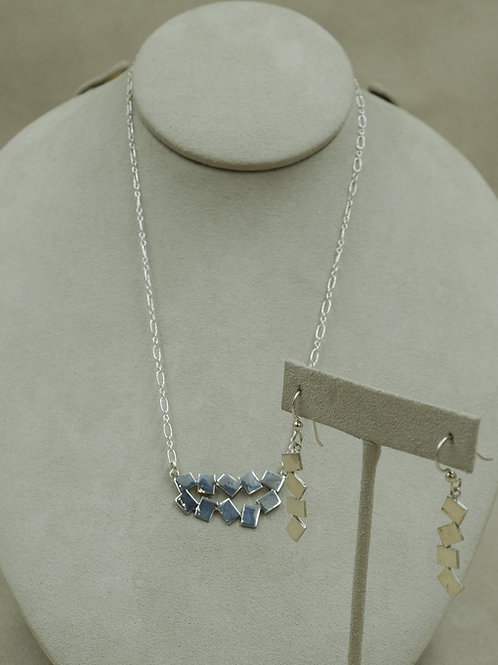 Abstract Sterling Silver Necklace & Earring Set by Jacqueline Gala