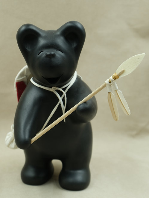 Large Black Bear Warrior with Shield on Back and Spear by Randy Chitto