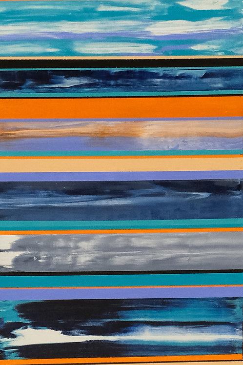 """""""Desert Elements"""" 15"""" x 60"""" Acrylic on Canvas by Marilynn Jennings"""