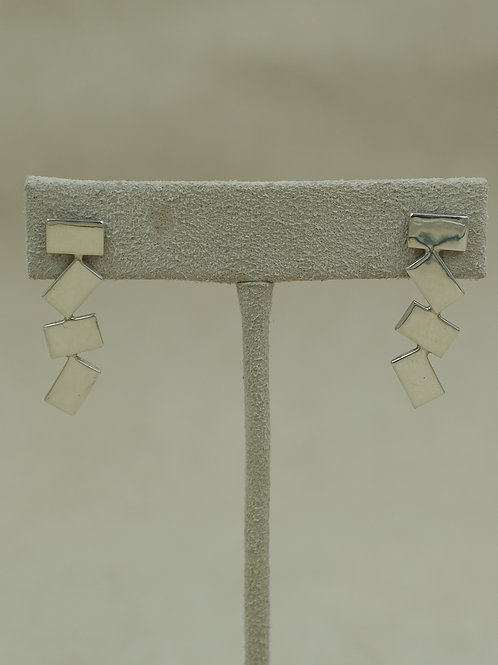 Long Abstract Sterling Silver Post Earrings by Jacqueline Gala