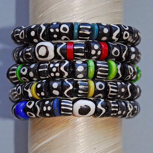 Black and White African Batik Bone Beaded Bracelets