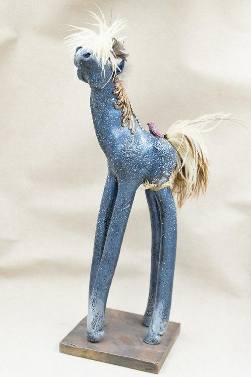 Bronze Blue Speckled Horse w/ Red Bird Sculpture by Cassandra Sharon
