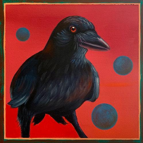 """Cowboy Raven"" Giclee on Canvas - 11"" x 11"" by Karen Clarkson"