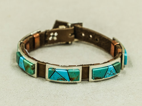 5 Inlay Rectangle Conchos w/ Kingman Turquoise Bracelet by Alonzo John