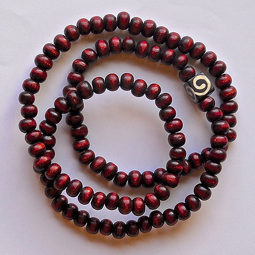 Maroon-dyed Natural Wood Beads w/ Hand-carved Etched Bone Cube Bead Mala