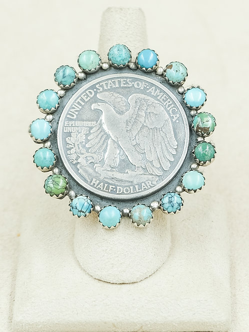 "SS ""Walking Liberty Eagle"" 1/2 Dollar w/ Turquoise 8x Ring by Maggie Moser"