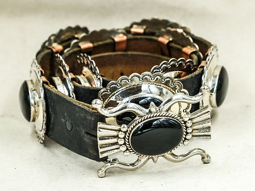 Sterling Silver & Onyx Concho Belt by Joba - Santo Domingo