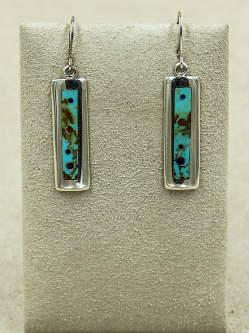 Long Low Dome w/ Coral, Turquoise, & Sugilite Earrings by Veronica Bernally