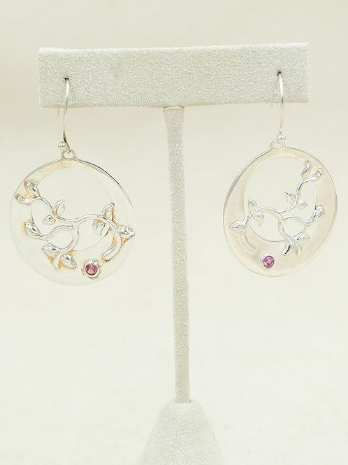 Sterling Silver w/ Rhodolite Garnet & Vines Earrings by Roulette 18