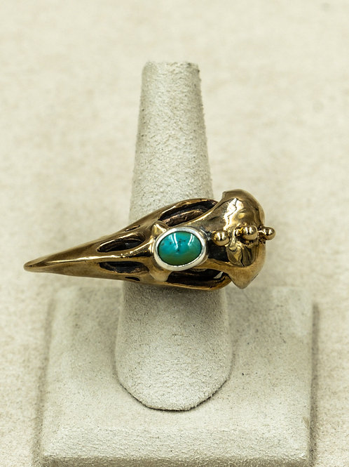 Sterling Silver w/ Bronze Bird & Chinese Turquoise 7.25x Ring by Melanie DeLuca