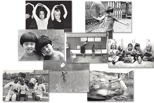 Boxed Set of 8 Black and White CHILDHOOD Greeting Cards