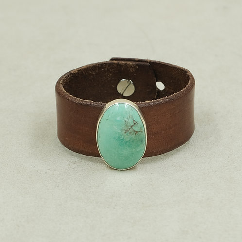 Leather Cuff with Stab Nevada Green Turquoise by Peyote Bird