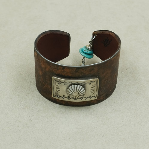 Leather Adjust. Cuff w/SS Rectangle Concho and Turquoise Dangle by Peyote Bird