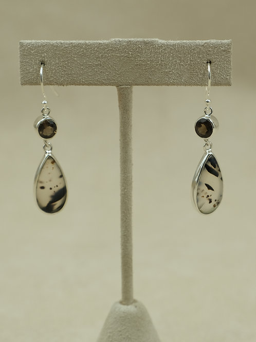 Sterling Silver Montana Agate & Smokey Quartz Earrings by Sanchi and Filia