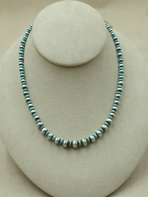 Sterling Silver w/ Oxidized Beads & Sleeping Beauty TQ Necklace by Maggie Moser