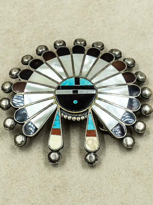 Vintage 50's Large Zuni Sun Face Multi-Stoned Inlay Buckle