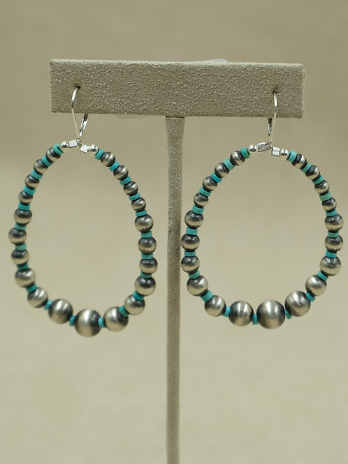 Sterling Silver Large Oxidized Turquoise Hoop Earrings by Maggie Moser