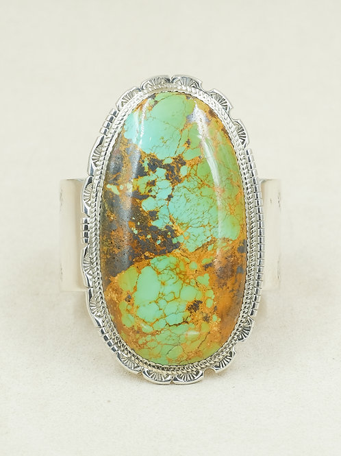 Sterling Silver Lone Mountain Turquoise by Tyson Calabaza