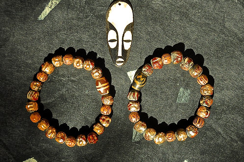 Clay Terra Cotta Red and Gold Leaf Beads Bracelet