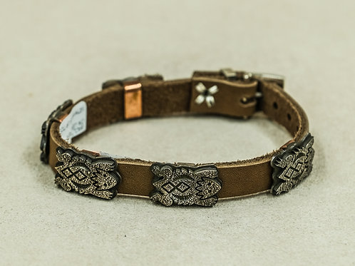 Sterling Silver Textured Horny Toads Leather Bracelet by Alonzo John