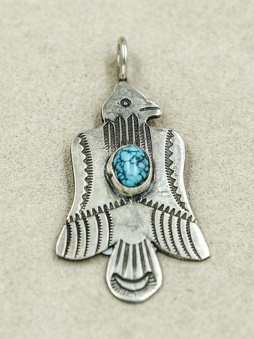 Sterling Silver Ingot Thunderbird w/ Small Blue Matrix Turquoise by Buffalo
