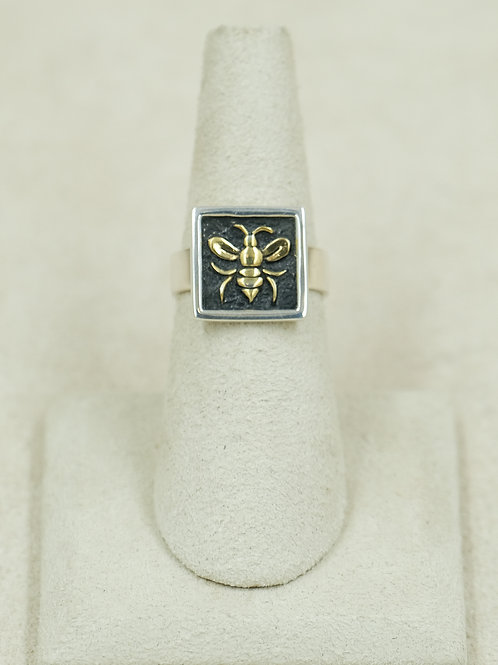 18k Plate Sterling Silver Square Bee 6x Ring by Roulette 18
