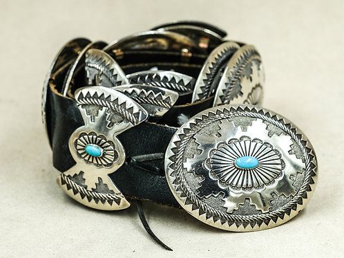 Turquoise and Sterling Silver Concho Belt