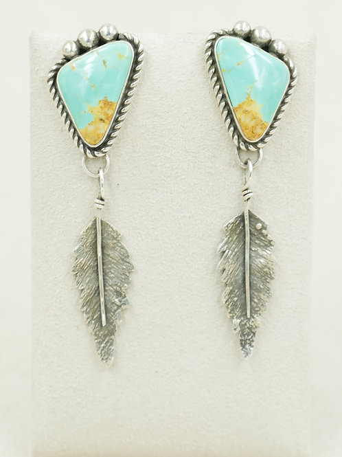 Sterling Silver w/ Feathers & Green Kingman Turquoise Earrings by Cheryl Arviso