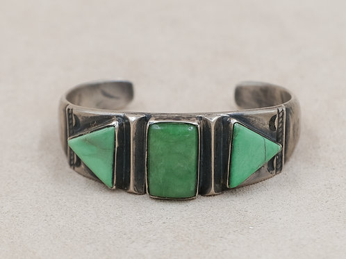 SS Ingot w/ 3 Green Stone Turquoise Cuff by Mike French