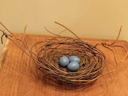 Large Handmade Metal Nest w/ 3 Deep Blue Eggs by Phil Lichtenhan