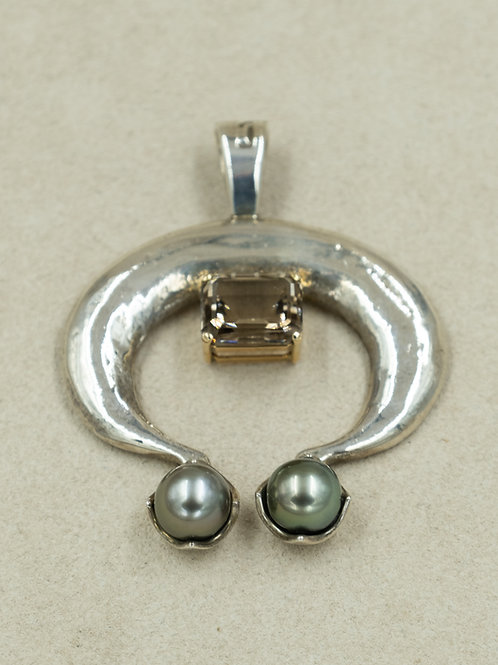 Sterling Silver Naja w/ Topaz & 2 Tahitian Pearls Pendent