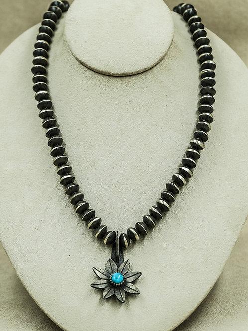 SS Oxidized Beads w/ One SS Oxidized Flower & Kingman Turquoise by Aaron John