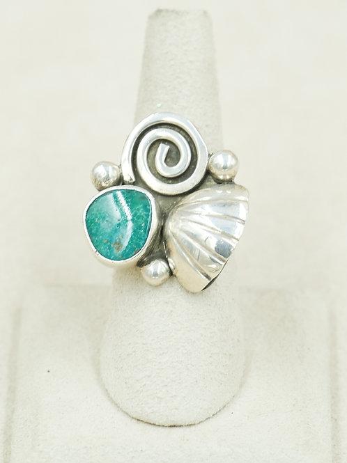 SS Seashell Spiral & Natural Aqua TQ 7x Ring by Robert Mac Eustace Jones